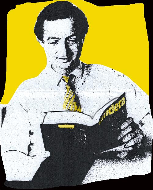 Michel-Edouard Leclerc, lisant Kundera